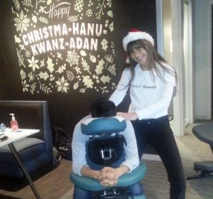 Chair massage is the perfect corporate holiday gift