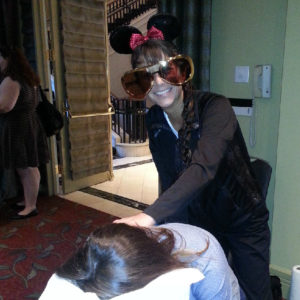 Chair massage for a customer appreciation event held in Buckhead
