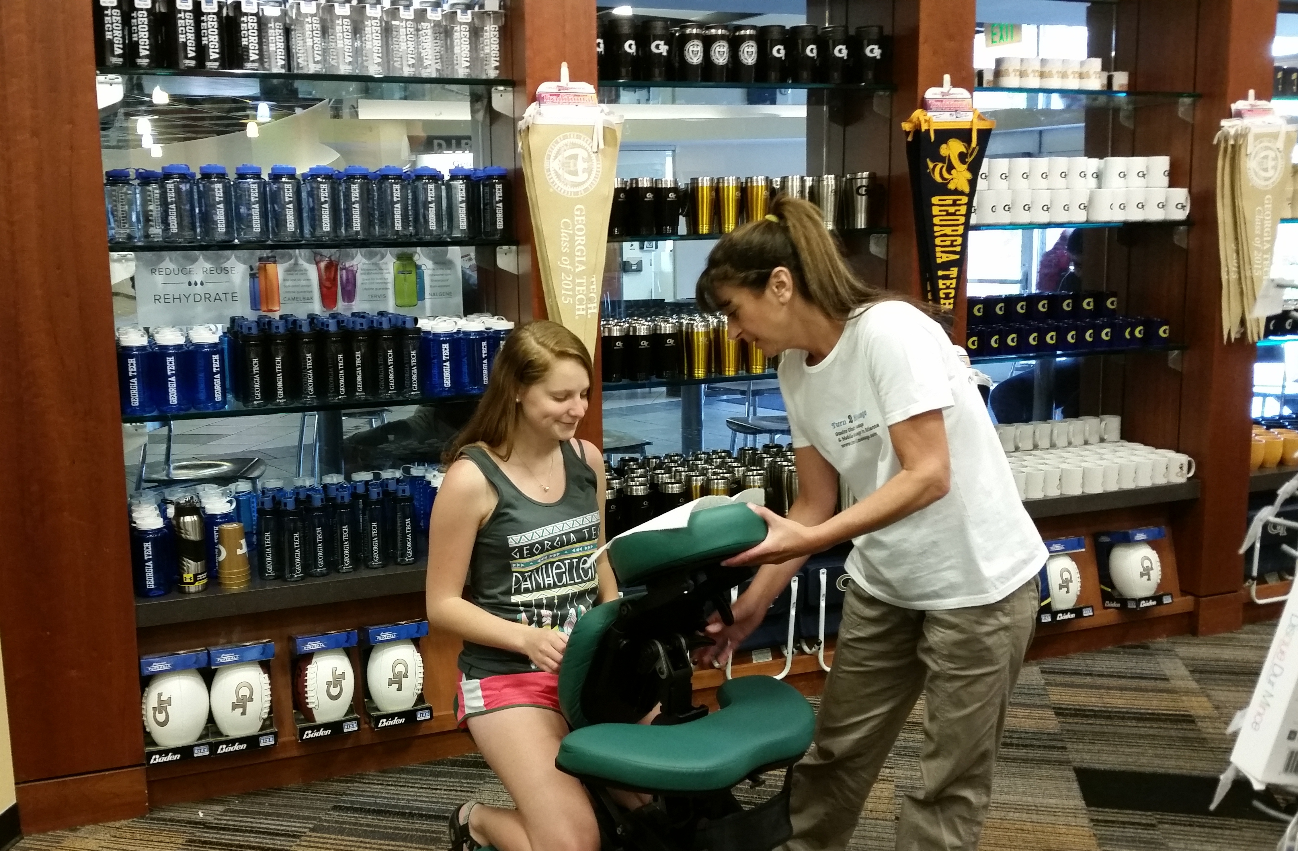 Chair massage for student appreciation, finals exams and school events in Atlanta