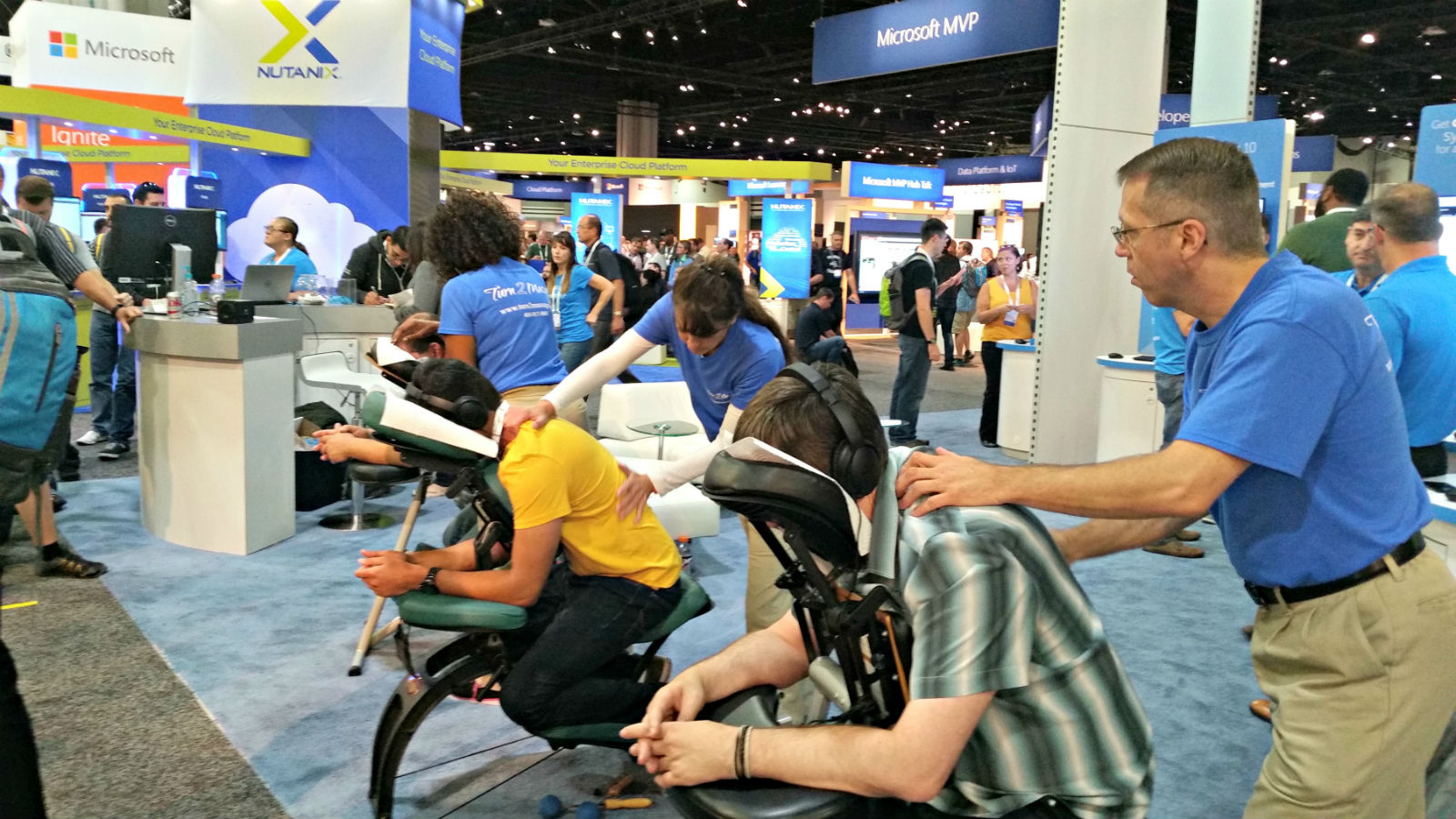 Chair massage at trade shows in Atlanta, GA by Turn 2 Massage